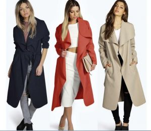 ZOGAA Women Plus Size 3XL Wool Blend Coat Casual Warm Winter Lapel Long Sleeve Belted Slim Solid Large Overcoat Trench C