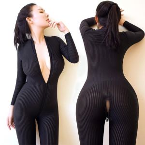 Zogga 2019 Sexy black and white stripe sheath smooth fiber 2 zipper long sleeve connected set lace bodysuit