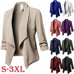 ZOGAA Formal Jacket Fashion Top Ruffle Coat Long Sleeve Turn-down Collar Autumn Open Pure Color Business Office Woman Ja