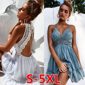 ZOGAA2019 summer New Sexy Print Lace Dress Strap Deep V-Neck High Waist Beach Dresses Women Slit Backless Sexy Party dre
