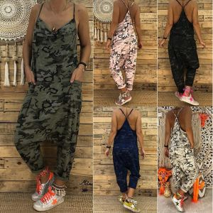 ZOGAA 2019 New Women Unique Camouflage Rompers Jumpsuit Loose Casual Herem Pants Suspenders Hip Pop Sport Slacks Plus Si