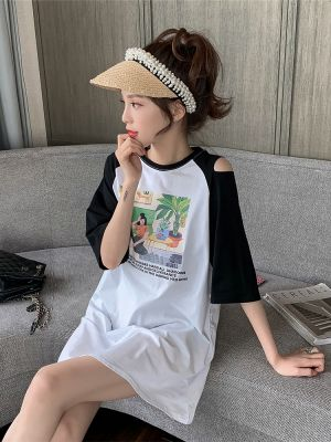 Summer 2019 new long paragraph off-shoulder half-sleeve comic print dress female student ins casual T-shirt skirt tide
