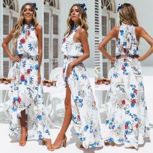 2019 Hot Sale Women Summer Sexy Boho High Slit Maxi Long Dress Evening Party Beach Dresses Sundress Floral Halter Dress