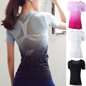 ZOGAA Hot Sale Women Sports Quick-drying T-shirt Splicing Mesh Tops Breathable Gym Workout Clothes Gradient Fashion T-sh