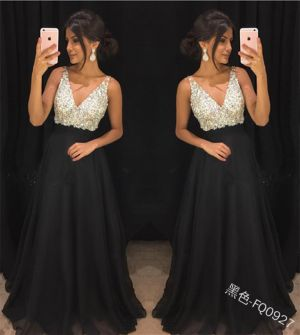 2019 Winter new foreign trade in Europe and America women's Amazon wish explosion models sequined deep V dress sexy dres
