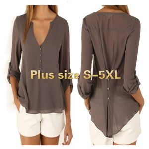 ZOGAA Plus Size S-5XL New Fashion Casual Sexy Deep V Neck Button Slim Waist Long Sleeves Chiffon Blouse Shirt Top
