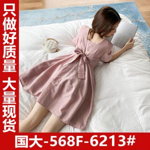 5.13 new products 8 fold from the Korean version of the self-cultivation cool wind back bow dress Q5206 6213#