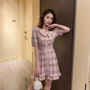 5.13 new products 8 fold from the Korean version of the high waist lattice slim ruffled shirt dress Q5207 6214#