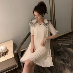 5.13 new product light cooked temperament slim folds chiffon dress 6215###