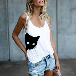 Zogaa Hot Sale Cute Cat Print T Shirts Women 2019 Summer New Casual Top White Plus Size Kawaii Basic T-shirts Tee Shirt