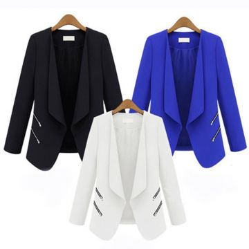 ZOGAA Hot Women Pure Color Blazer Long Sleeve Double Breasted Slim Checked Coat Formal Jacket Office Suit Lady Outerwear