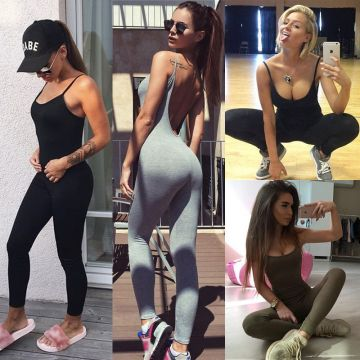 2018 Women's Sexy Cotton Jumpsuit Summer Halter Siamese Sling Casual Sports Fitness Running Cotton Jumpsuit 3 color size
