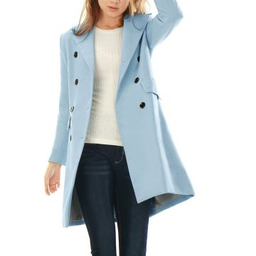 ZOGAA Women's Clothing 2019 Coat Female New Fashion Spring Coats Turn-down Collar Solid Double Breasted Pocket Slim Wool